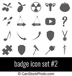 Badge. Icon set 2. Gray icons on white background.