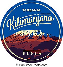 badge., illustration., einfassung kilimanjaro, draußen, afrikas, vulkan, erde, higest, tansania, abenteuer