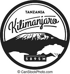 badge., illustration., stańcie kilimandżaro, na wolnym...