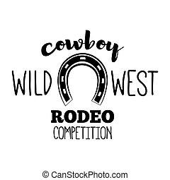 badge., label., west, competitie, rodeo, vector, westelijk, horseshoe., wild, illustration.