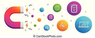 badge., lista de verificação, ícones, globo, jazz, diploma, vendas, diagrama, folheto, vetorial, documento, levantamento, signs., set.