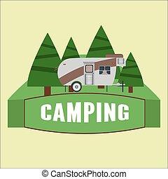 badge., logo, vecteur, camping, camping car, illustration.