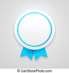badge, met, blauw lint, op, transparant, achtergrond
