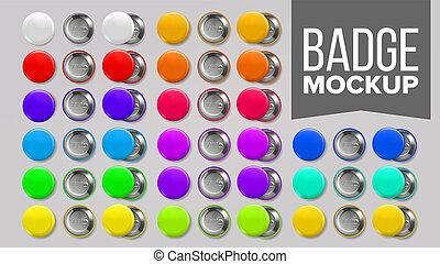 Badge Mockup Set . Pin Brooch Button Blank. Two Sides. Promotion, Merchandise Item. Front, Back View. Round Souvenir. Branding Emblem Design 3D Realistic Illustration