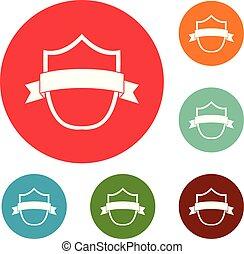 Badge modern icons circle set vector