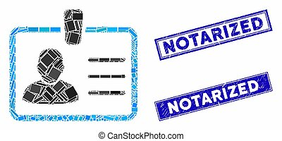 Badge Mosaic and Scratched Rectangle Notarized Seals