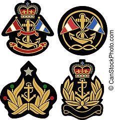 badge, nautisch, embleem, schild, koninklijk