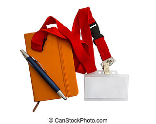 Badge, notebook and pen isolated on white background