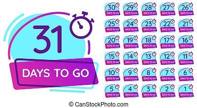 badge., numrera, affär, disk, dagar, tidmätare, nedräkning, gå, vektor, illustration, datera, frigöra, sätta, dag, märken