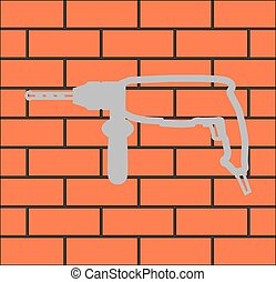 badge of a jackhammer on a brick wall