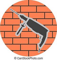 Badge of a jackhammer on a brick wall