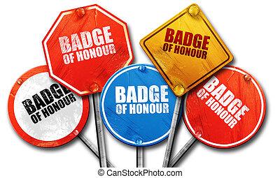 badge of honour, 3D rendering, street signs