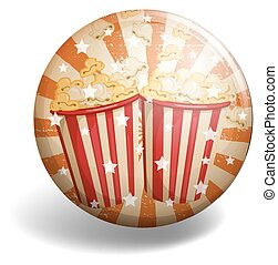 Badge of popcorn withstars