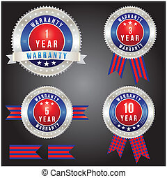 Badge of year warranty for label and sticker, vector format