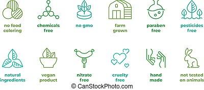 badge., organico, logos, eco, etichette, animali, libero, crudeltà, skincare, esaminato, paraben, vettore, emblemi, non, naturale, linea, faccia