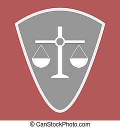 Badge scales of justice shield. Scale balance on element...