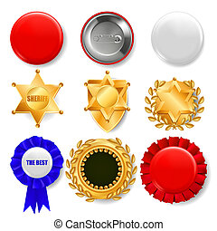 Badge Set . Plastic And Golden Empty Button. Sale Symbol. Best Quality Product Emblem. Hexagonal. Sheriff, Pin Brooch, Retro, Vintage, Police, Sale Classic Premium Badge Illustration