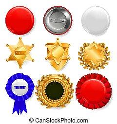 Badge Set Vector. Plastic And Golden Empty Button. Sale Symbol. Best Quality Product Emblem. Hexagonal. Sheriff, Pin Brooch, Retro, Vintage, Police, Sale Classic Premium Badge Illustration