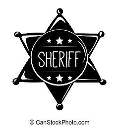 badge., silhouette, illustration., sheriff, west, s, vector, westelijk, label., wild