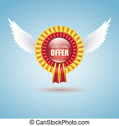 Badge Special offer with white wings