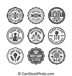 Badge stamps candy shop collection