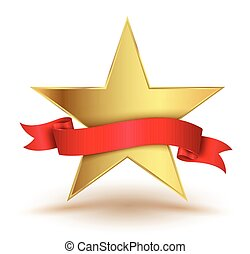Badge star with red ribbon