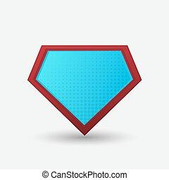 badge., vecteur, superhero, vide