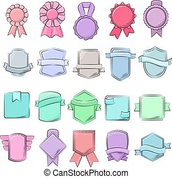 Badge vector quality element for banner or retro blank label...