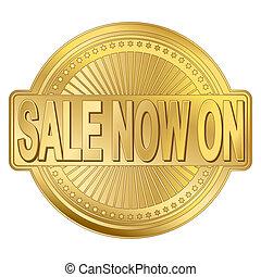 badge, verkoop, goud