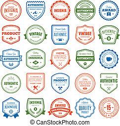 badge, verzameling, etiket