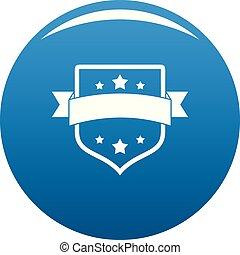 Badge vintage icon blue vector