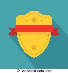 Badge warrior icon, flat style