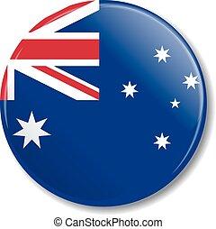 Badge with Australian flag. Vector illustration.