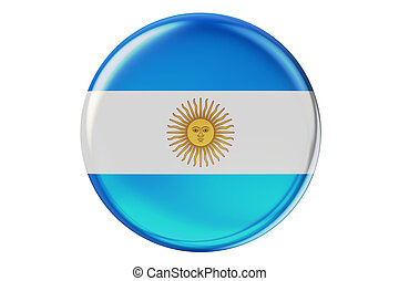 Badge with flag of Argentina, 3D rendering