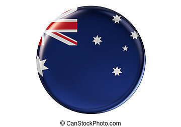 Badge with flag of Australia, 3D rendering