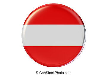 Badge with flag of Austria, 3D rendering