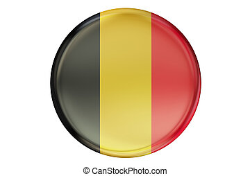 Badge with flag of Belgium, 3D rendering