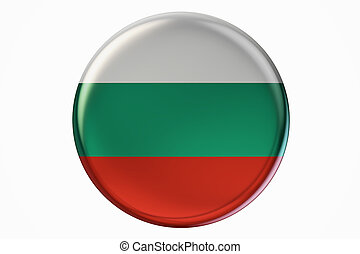 Badge with flag of Bulgaria, 3D rendering