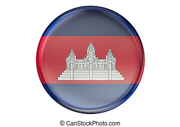 Badge with flag of Cambodia, 3D rendering