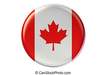 Badge with flag of Canada, 3D rendering