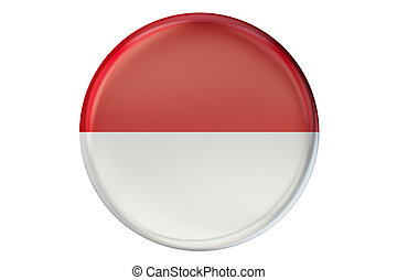Badge with flag of Indonesia, 3D rendering