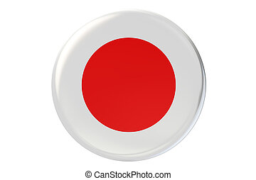Badge with flag of Japan, 3D rendering