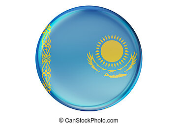 Badge with flag of Kazakhstan, 3D rendering