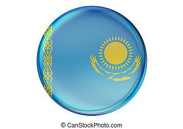 Badge with flag of Kazakhstan, 3D rendering