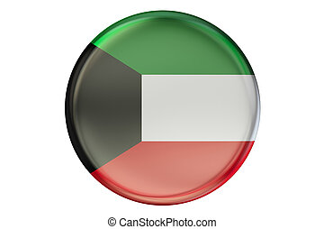 Badge with flag of Kuwait, 3D rendering