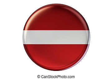 Badge with flag of Latvia, 3D rendering