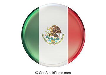 Badge with flag of Mexico, 3D rendering