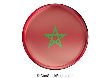 Badge with flag of Morocco, 3D rendering