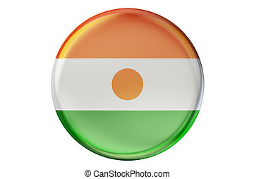 Badge with flag of Niger, 3D rendering