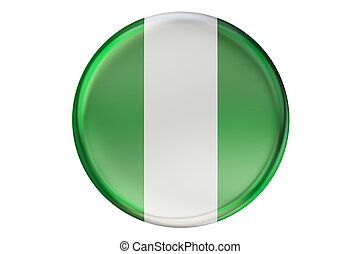 Badge with flag of Nigeria, 3D rendering